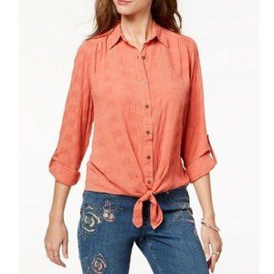 STYLE & CO Tie-Front Button-Up Shirt